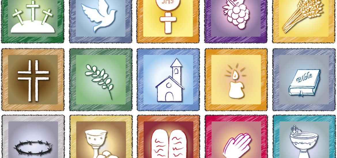 illustration of religion icons isolated